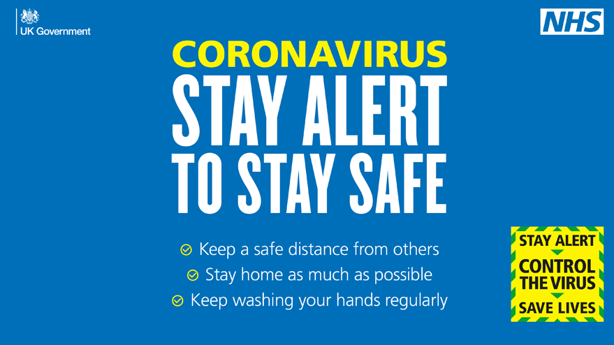 Corona virus, stay alert to stay safe, distance, stay home and wash your hands